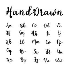 Vector hand drawn alphabet. Brushpen letters. Vintage lettering