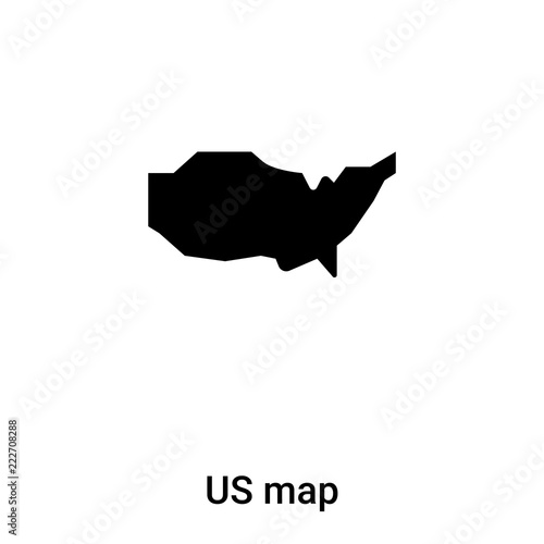 US map icon vector isolated on white background, logo concept of US ...