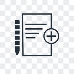 add new document icon isolated on transparent background. Modern and editable add new document icon. Simple icons vector illustration.