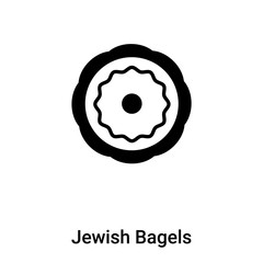 Jewish Bagels icon vector isolated on white background, logo concept of Jewish Bagels sign on transparent background, black filled symbol