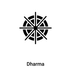 Dharma icon vector isolated on white background, logo concept of Dharma sign on transparent background, black filled symbol
