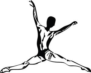 Jumping man, abstract lines drawing