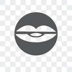 lip icon isolated on transparent background. Modern and editable lip icon. Simple icons vector illustration.