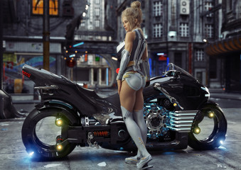 Sexy young female in modern attire posing with her custom science fiction light cycle motorcycle in a futuristic urban background setting.3d rendering