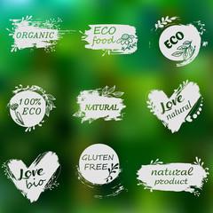 I love organic. Set of logos, icons, design elements. Doodle logos. Natural food, organic food, veggie food. Healthy