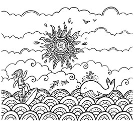 Doodle style coloring book page vector surfing illustration with sun, surfer and whale on waves