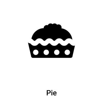 Pie icon vector isolated on white background, logo concept of Pie sign on transparent background, black filled symbol