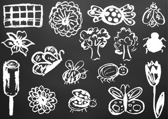 Design elements of packaging, postcards, wraps, covers. Sweet children's creativity. Flower, butterfly, bug, spider, fly, ladybug, ice cream, tree, candy, chocolate, tuli