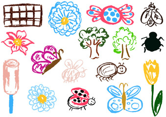 Design elements of packaging, postcards, wraps, covers. Sweet children's creativity. Flower, butterfly, bug, spider, fly, ladybug, ice cream, tree, candy, chocolate, tulip