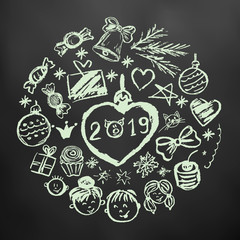 New Year 2019. Round new year illustration. Children's drawings with white chalk on a black background. Christmas tree, Christmas tree, candy, gifts, children, 2019