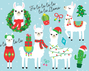 Cute llama and alpaca with Christmas holidays theme vector illustration. Llama wearing Santa hat and sweater, carrying Christmas gifts. Llama with Christmas wreath and light. Cactus with Santa hat.