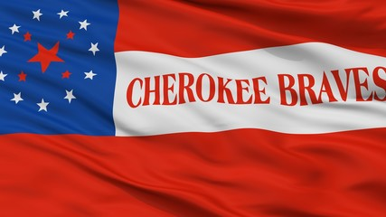 Cherokee Braves Indian Flag, Closeup View, 3D Rendering