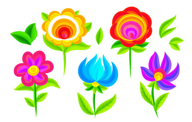 Vivid colors decorative flowers vector set with painting imitation. Russian style decoration floral elements