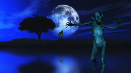 Fototapete - 3D zombie with tree silhouetted against a moonlit sky