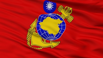 Republic Of China Marine Corps Flag, Closeup View, 3D Rendering