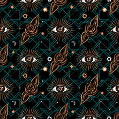 Seamless pattern in medieval celestial style with eye and roses. Bohemian, gypsy motifs.