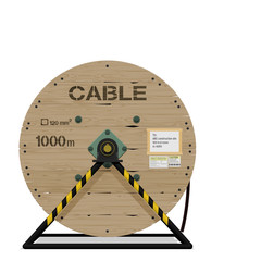 Isolated cable drum with stand on transparent background