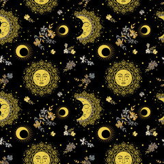 Bohemian seamless pattern with sun, moon, stars and flowers. Vintage style. Gypsy and folk motifs.