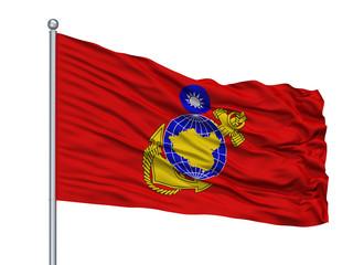 Republic Of China Marine Corps Flag On Flagpole, Isolated On White Background, 3D Rendering