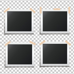 Template paper photo frame set. Template for your design works. Photo glued on scotch tape. Vector illustration isolated on a transparent background