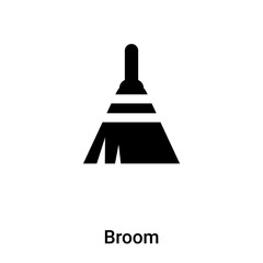 Broom icon vector isolated on white background, logo concept of Broom sign on transparent background, black filled symbol