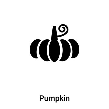 Pumpkin icon vector isolated on white background, logo concept of Pumpkin sign on transparent background, black filled symbol