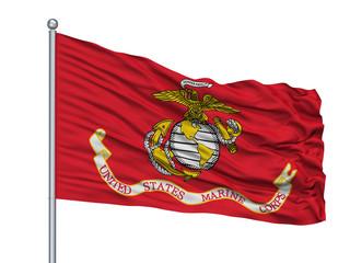 United States Marine Corps Flag On Flagpole, Isolated On White Background, 3D Rendering