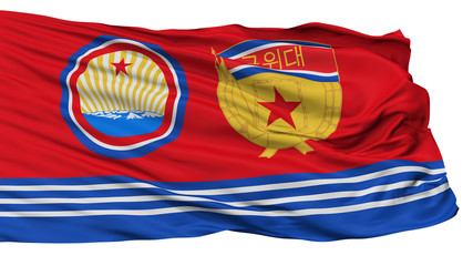 Guards Ensign Of North Korea Flag, Isolated On White Background, 3D Rendering