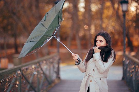 Girl Fighting The Wind Holding Umbrella Raining Weather