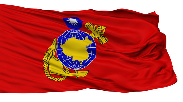 Republic Of China Marine Corps Flag, Isolated On White Background, 3D Rendering