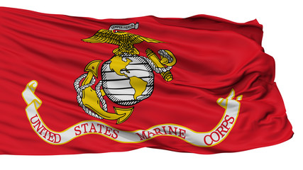 United States Marine Corps Flag, Isolated On White Background, 3D Rendering