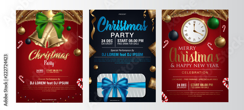 vector illustration of happy new year 2019 and merry christmas brochure flyer party