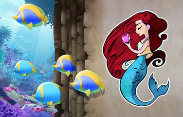 Cute cartoon anime illustration. Beautiful adorable mermaid girl with long red hair holding huge pearl in her hands