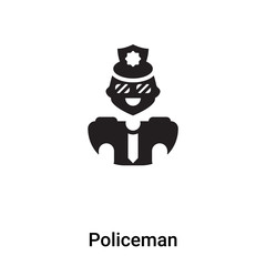Policeman icon vector isolated on white background, logo concept of Policeman sign on transparent background, black filled symbol