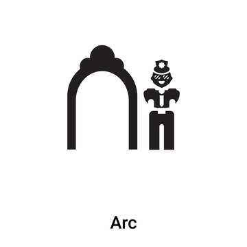 Arc icon vector isolated on white background, logo concept of Arc sign on transparent background, black filled symbol