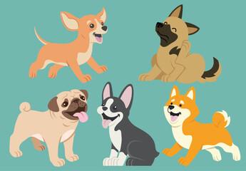 dog flat cartoon set