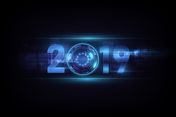 Happy New Year 2019 celebration with white light abstract clock on futuristic technology background, countdown concept, vector illustration