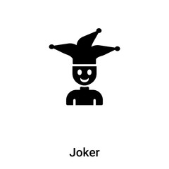 Joker icon vector isolated on white background, logo concept of Joker sign on transparent background, black filled symbol
