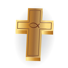 Logo gold Christian Cross image 3D symbol