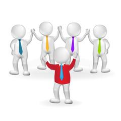 3d small people leader teamwork logo