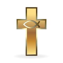 Logo gold christian cross symbol vector