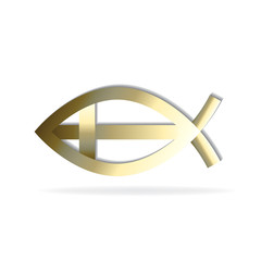 Logo Christian cross and fish icon