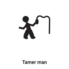 Tamer man icon vector isolated on white background, logo concept of Tamer man sign on transparent background, black filled symbol
