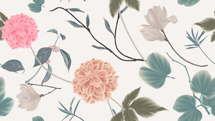 Botanical seamless pattern, dahlia, magnolia flowers and leaves on light grey background