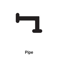 Pipe icon vector isolated on white background, logo concept of Pipe sign on transparent background, black filled symbol