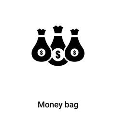 Money bag icon vector isolated on white background, logo concept of Money bag sign on transparent background, black filled symbol