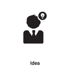 Idea icon vector isolated on white background, logo concept of Idea sign on transparent background, black filled symbol