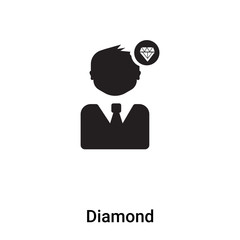 Diamond icon vector isolated on white background, logo concept of Diamond sign on transparent background, black filled symbol