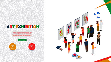 art exhibition concept banner with character illustration. can use for web banner, infographics, hero images. flat isometric vector illustration isolated on white background