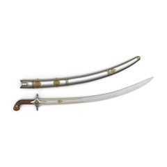 Arab Saif Sword on white. Top view. 3D illustration